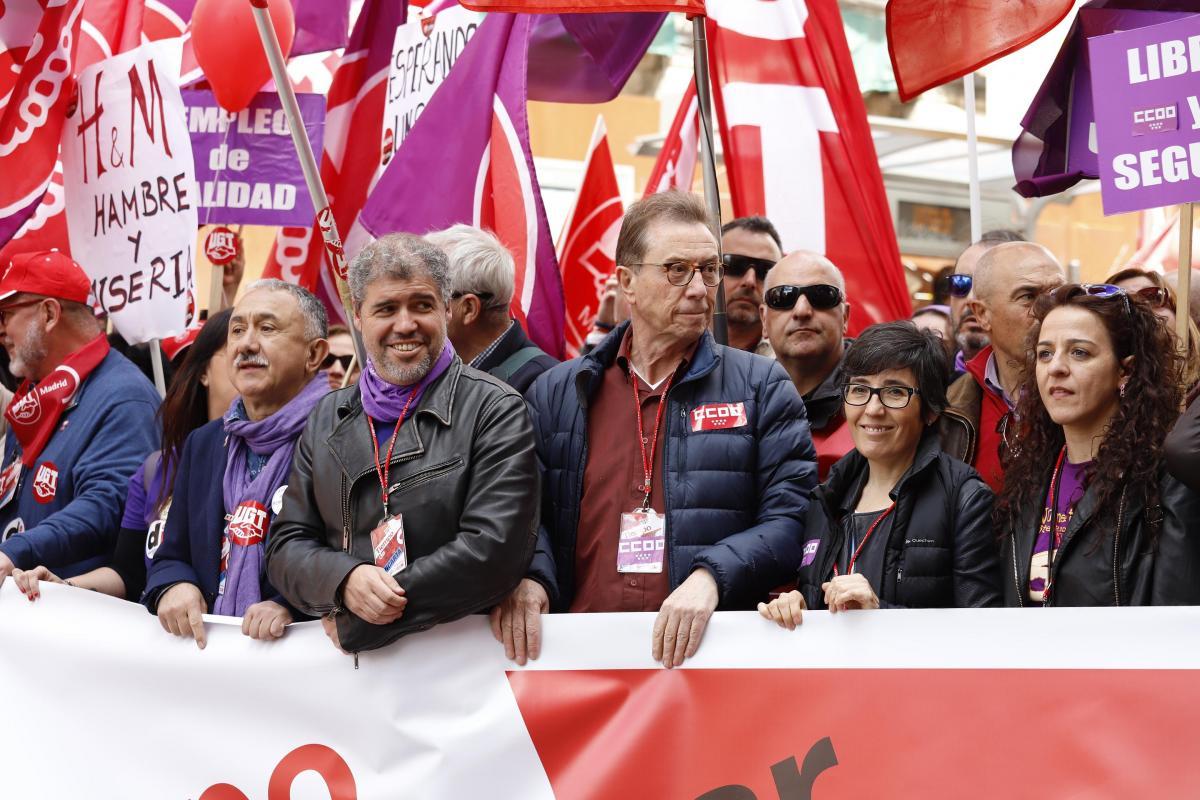 Elena Blasco, Francisca Gómez, Jaime Cedrún y Unai Sordo en la cabecera de la manifestación de Madrid | Fotografía: CC.OO.