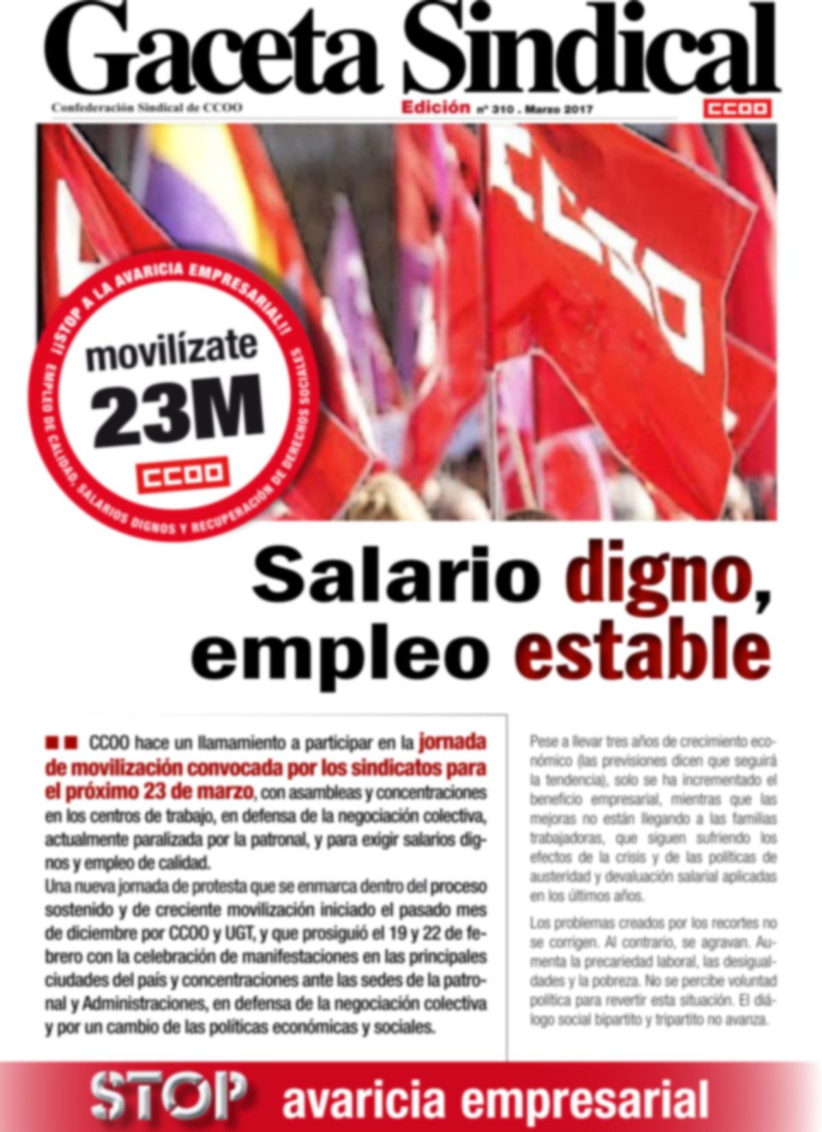 Gaceta Sindical movilizaciones 23M
