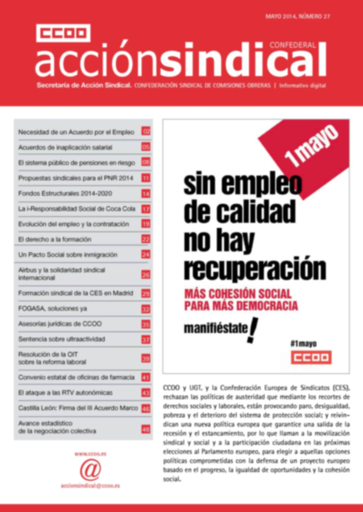 Informativo Digital Acción Sindical Confederal, nº 27