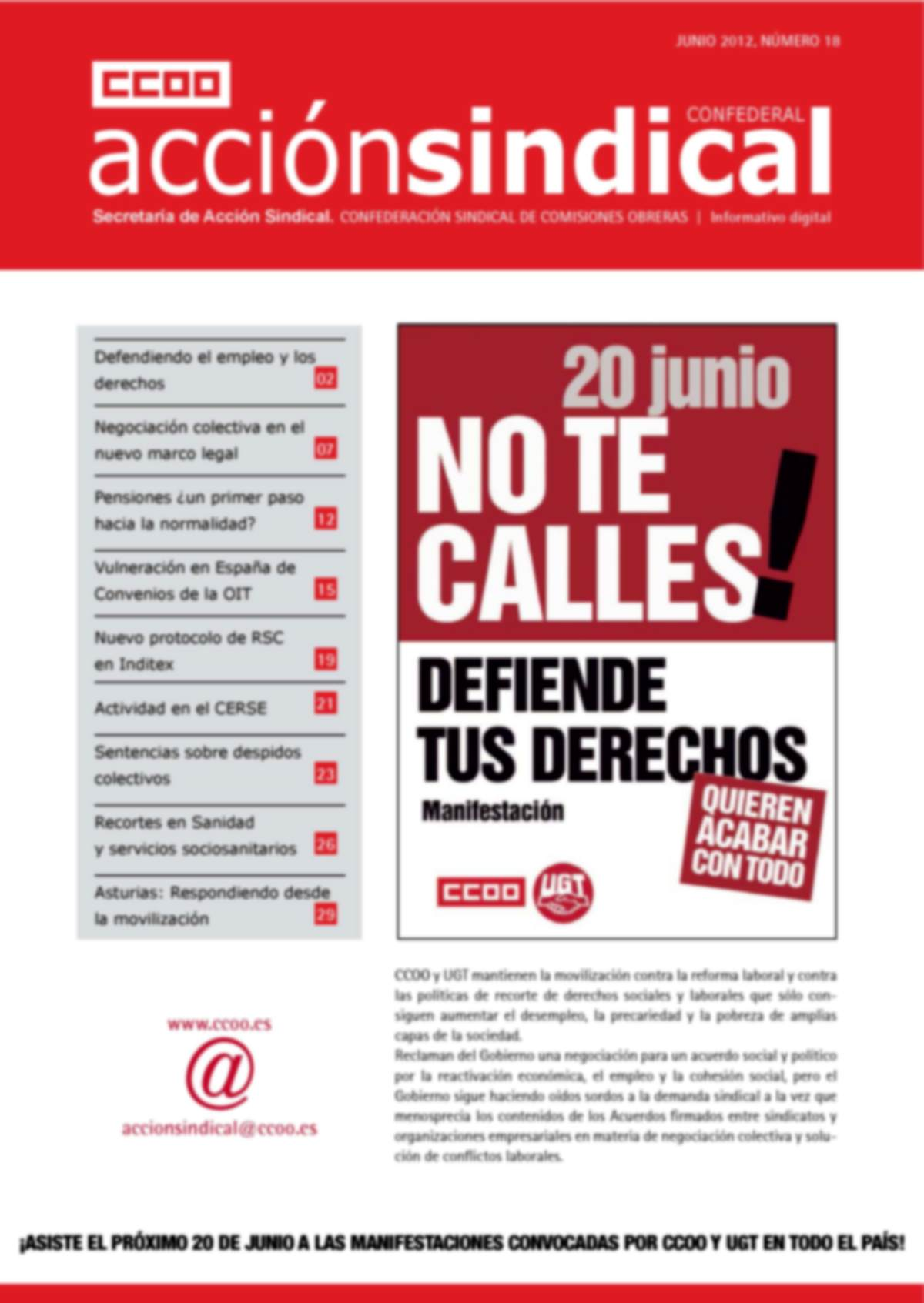 Informativo Digital Acción Sindical Confederal, nº 18
