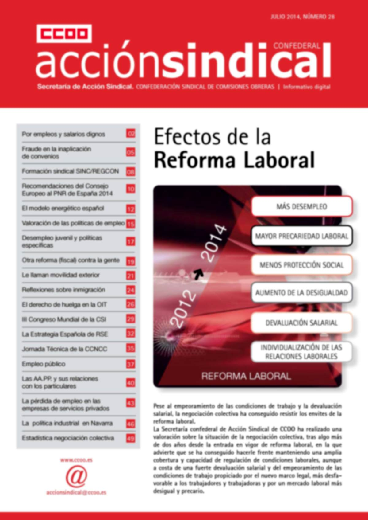 Informativo Digital Acción Sindical Confederal, nº 28