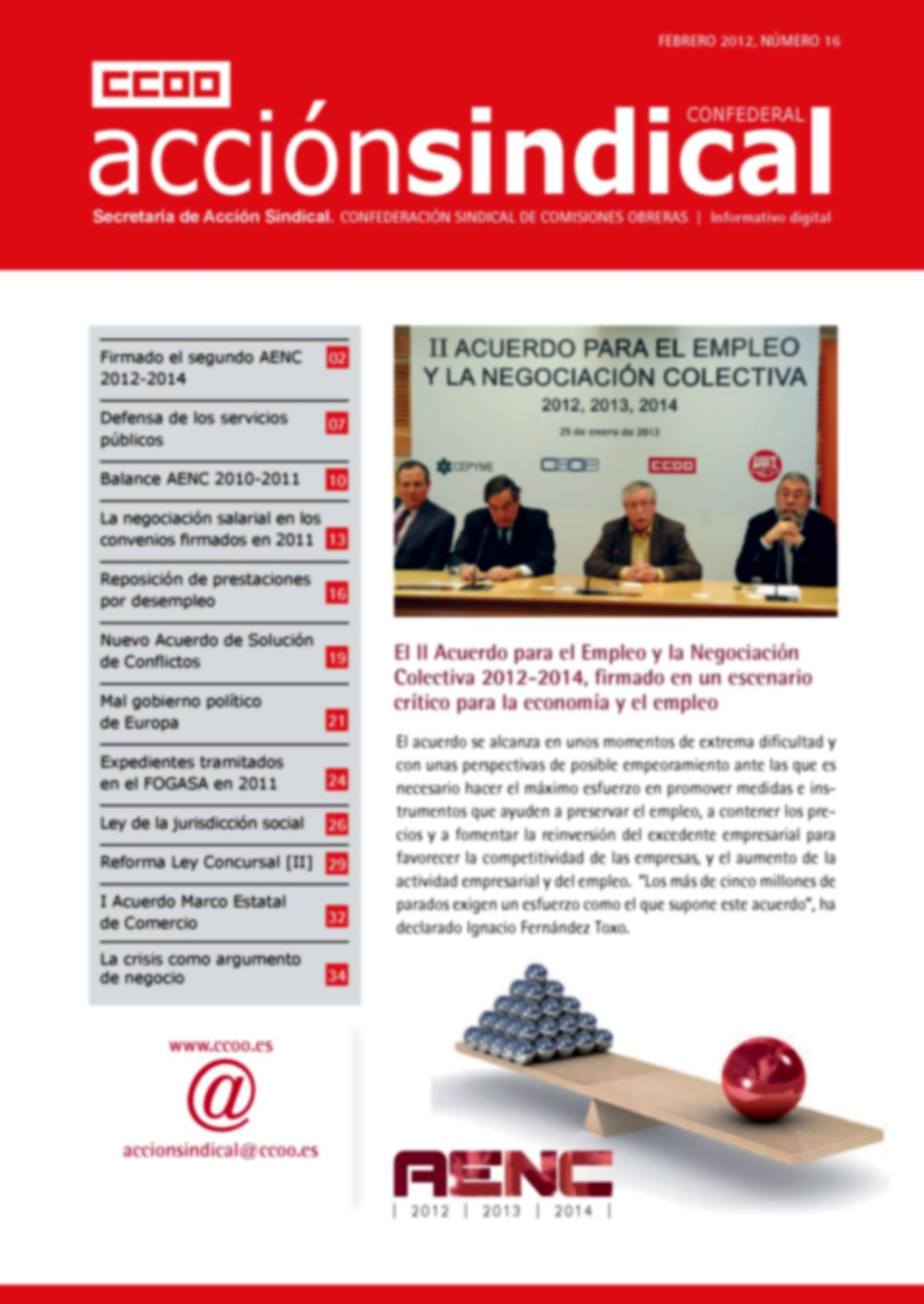Informativo Digital Acción Sindical Confederal, nº 16