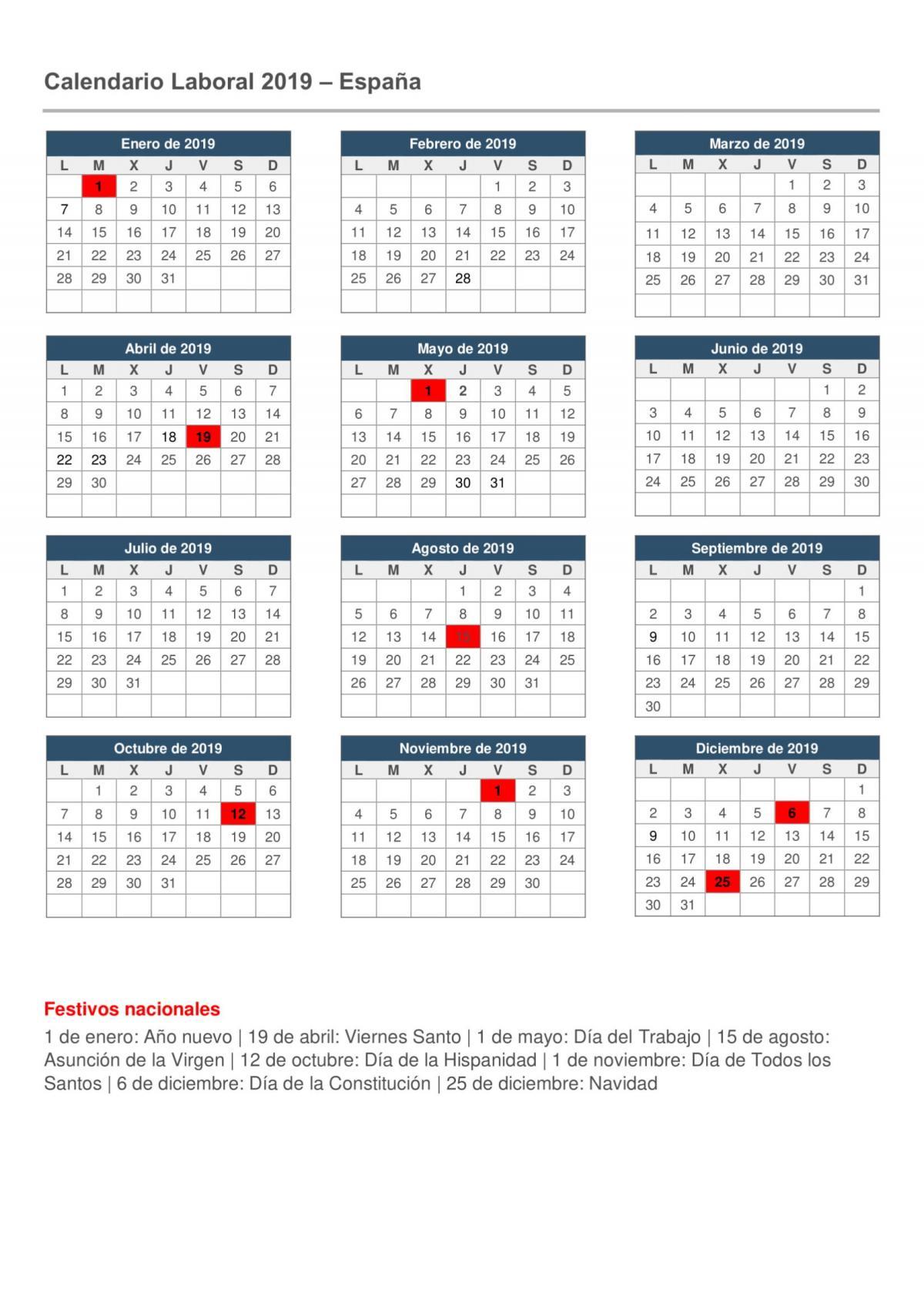 Seg Social Calendario Laboral.Confederacion Sindical De Comisiones Obreras