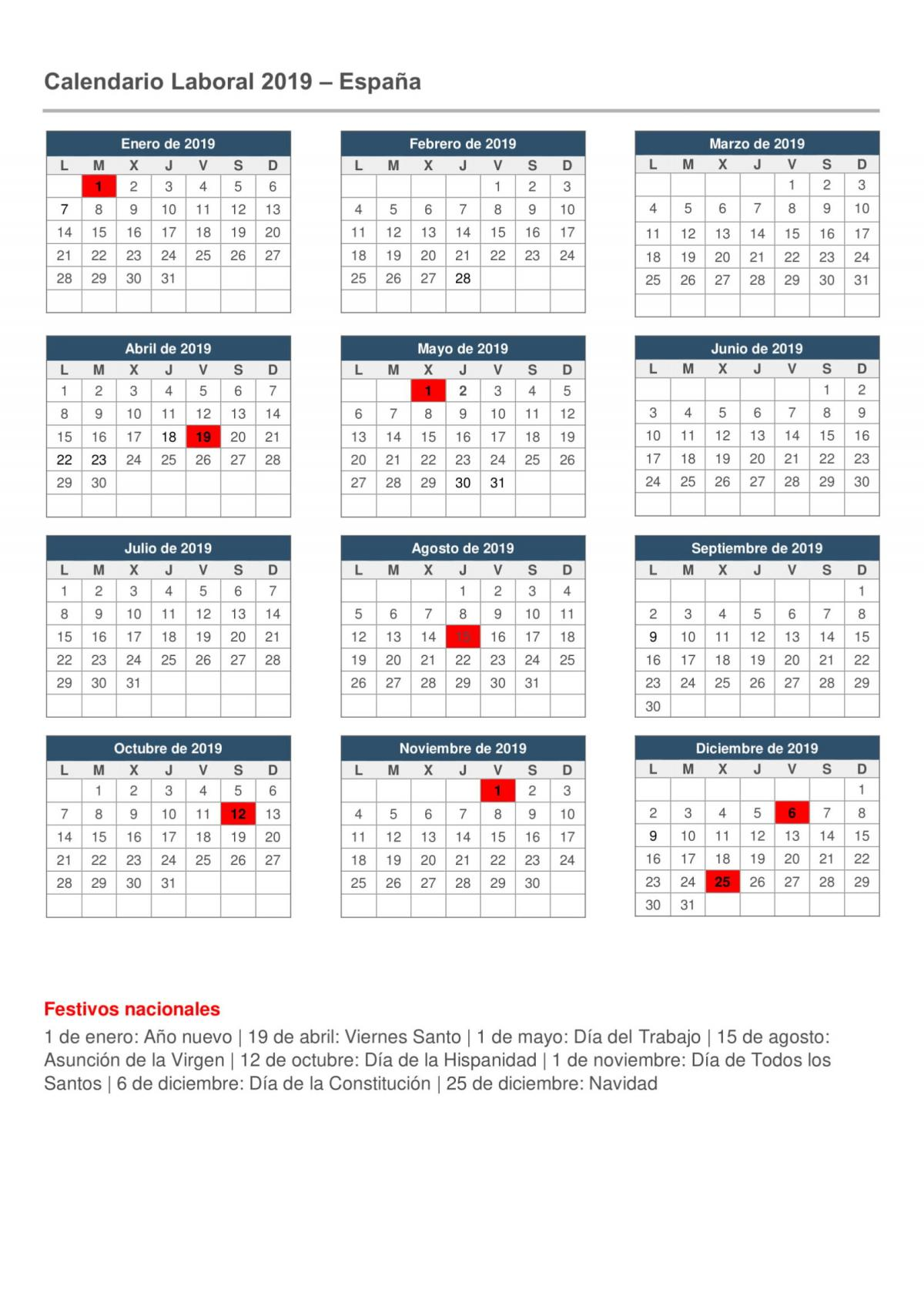UGT FICA País Valencià - Calendario Laboral 2019