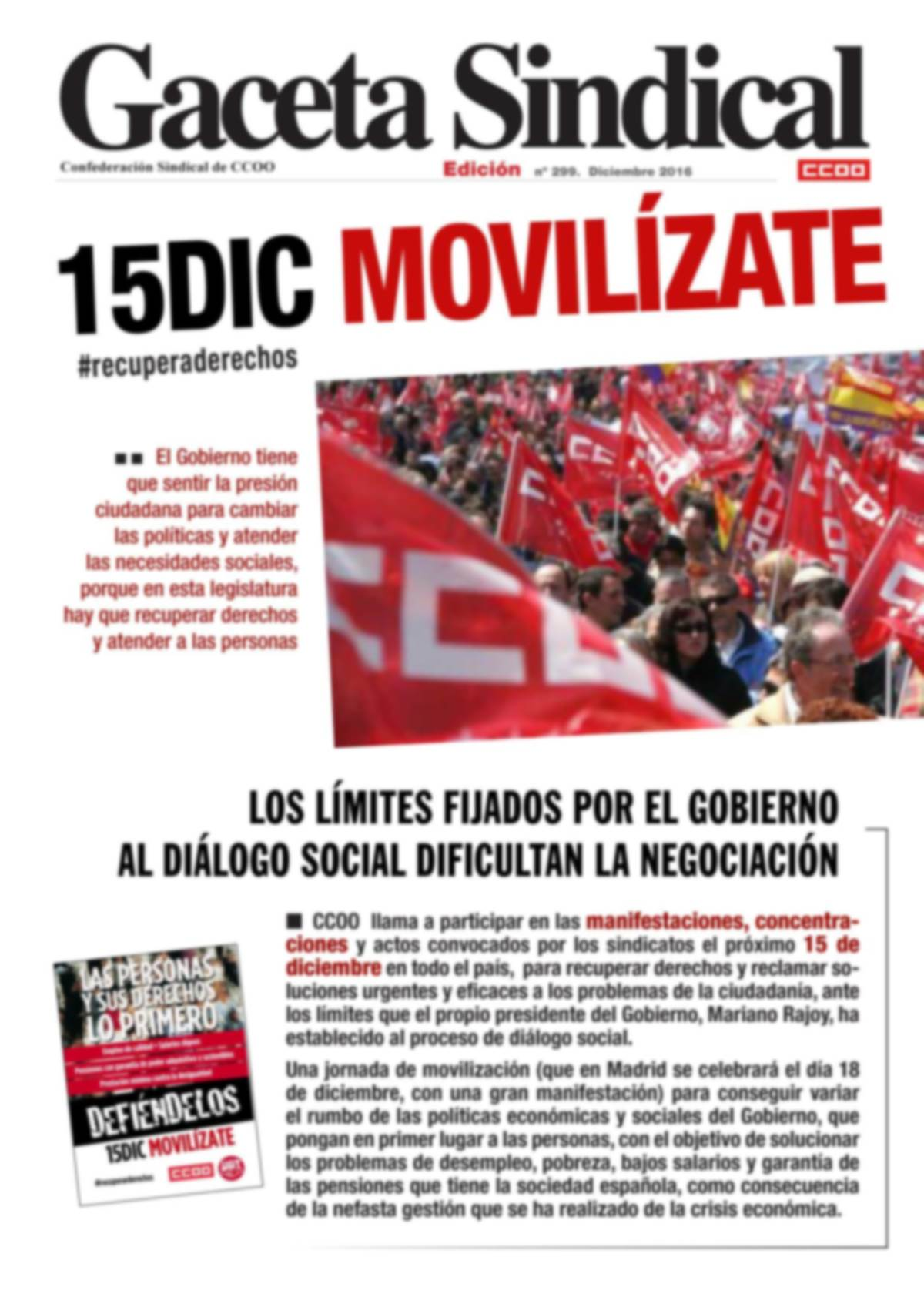 Gaceta Sindical movilizaciones 15D