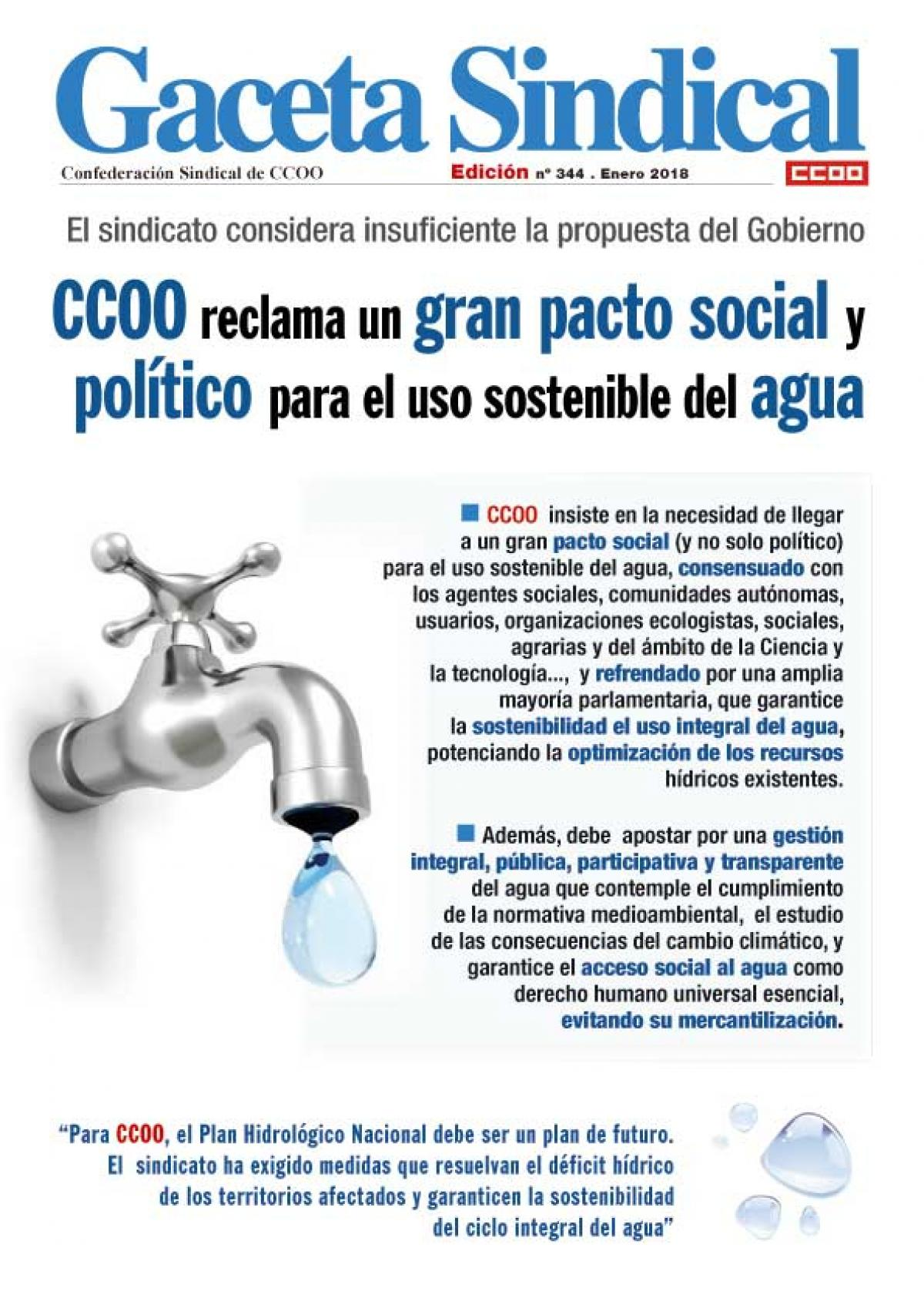 Resultado de imagen de ccoo reclama unpacto politico sobre el agua