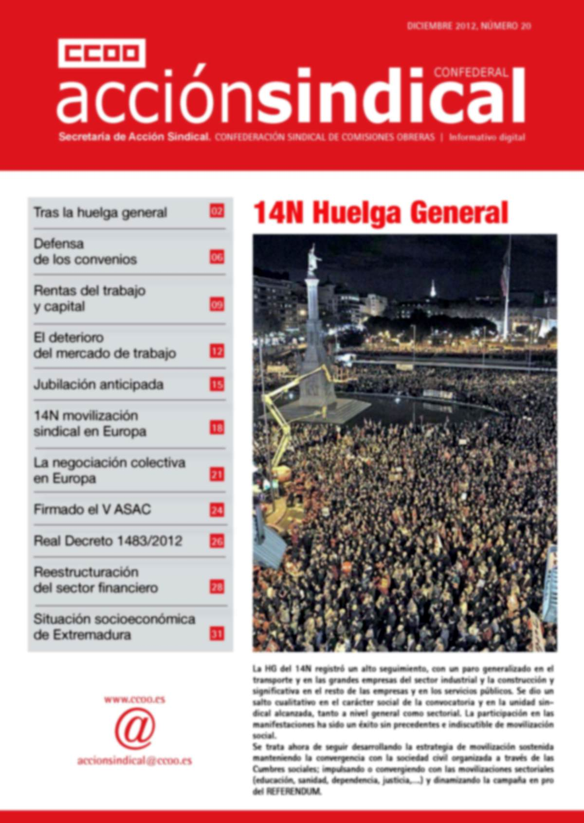 Informativo Digital Acción Sindical Confederal, nº 20