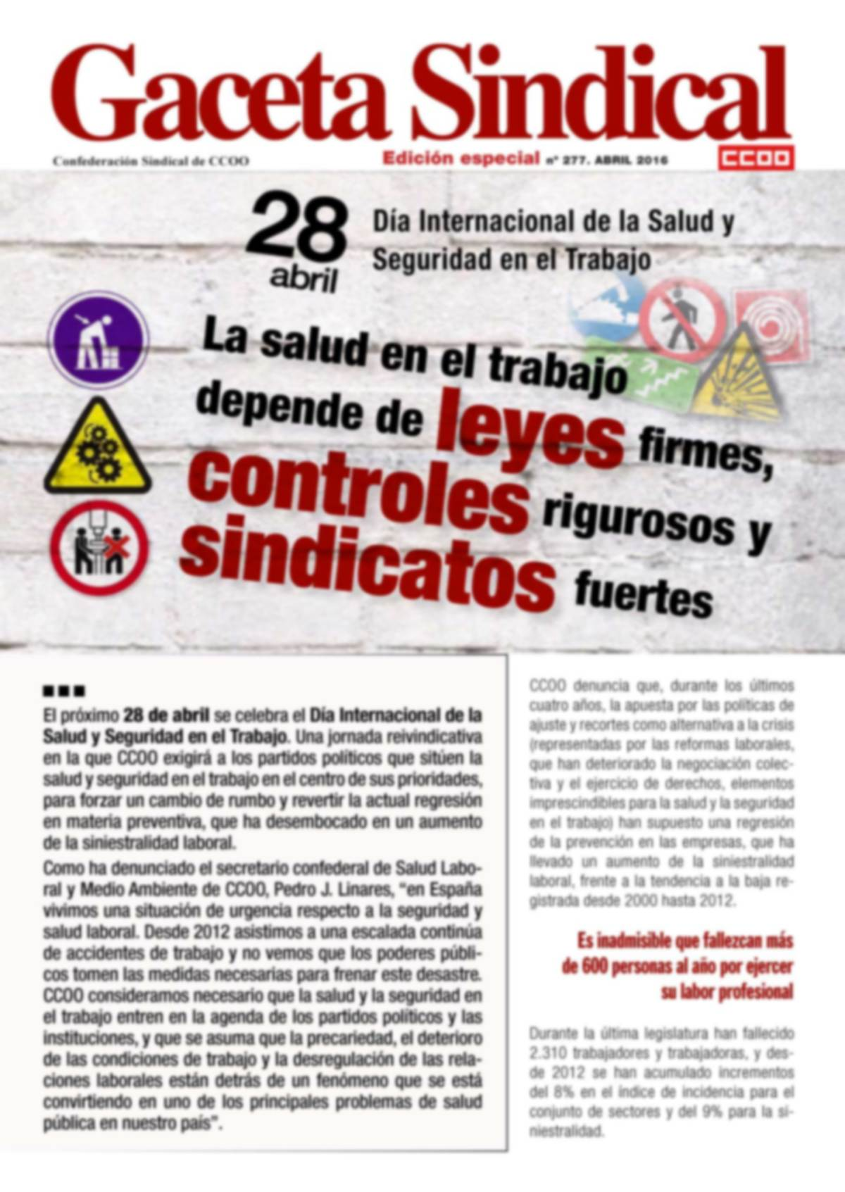 Gaceta Sindical 28 de abril